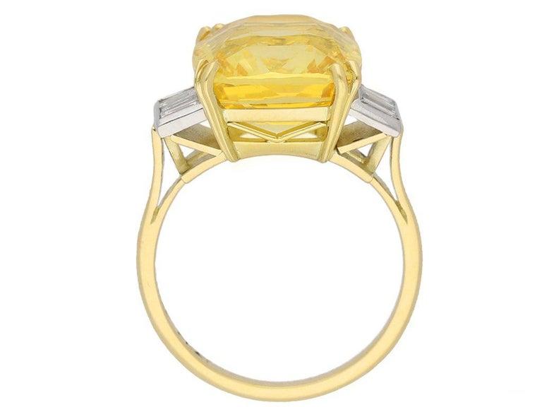 Baguette Cut Old Cut Natural Unenhanced Ceylon Yellow Sapphire Diamond Ring For Sale