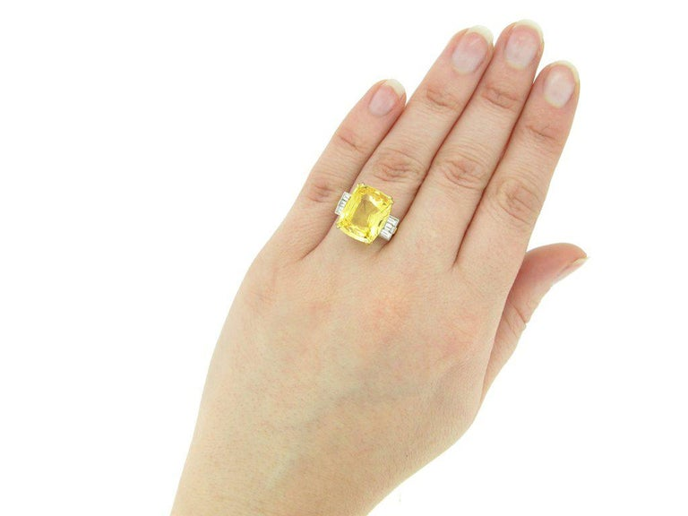 Old Cut Natural Unenhanced Ceylon Yellow Sapphire Diamond Ring For Sale 1