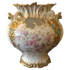 Old Derby China Gilt and Floral Vase
