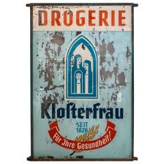 "Old Drugstore Advertisement for ""Klosterfrau"", 1920s, Glass Pharmacie Sign"