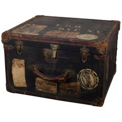 Old England Leather or Brass Luggage with Original Travel Stickers c.1900-1930