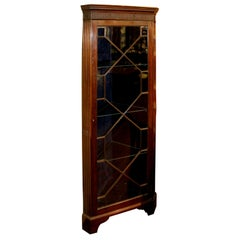 Old English Carved Solid Mahogany Chippendale Style Glass Front Corner Cupboard