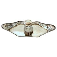 "Old English Ellis Silver Plate Georgian Style, ""Adam"" Influenced Inkstand"