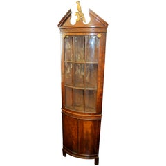 Old English Figured & Fretted Mahogany Chippendale Style Bowfront Corner Cabinet