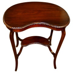 Old English Hand Carved Mahogany Gadroon Edge Kidney Shape Occasional Table