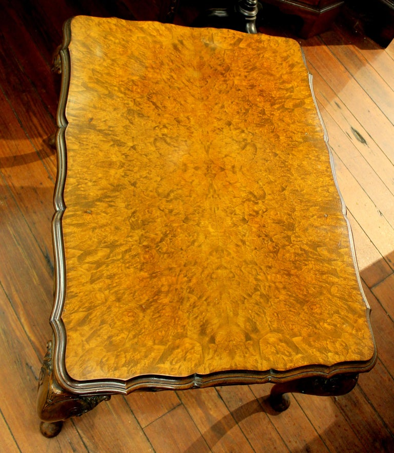 20th Century Old English Highly Figured Burr Walnut Georgian Style Carved Coffee Table For Sale