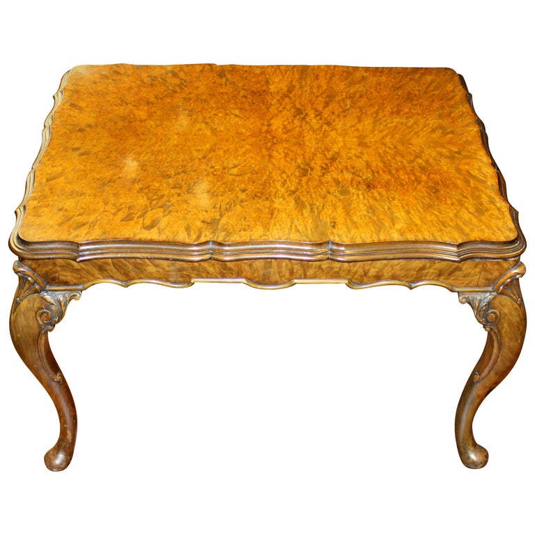 Old English Highly Figured Burr Walnut Georgian Style Carved Coffee Table For Sale