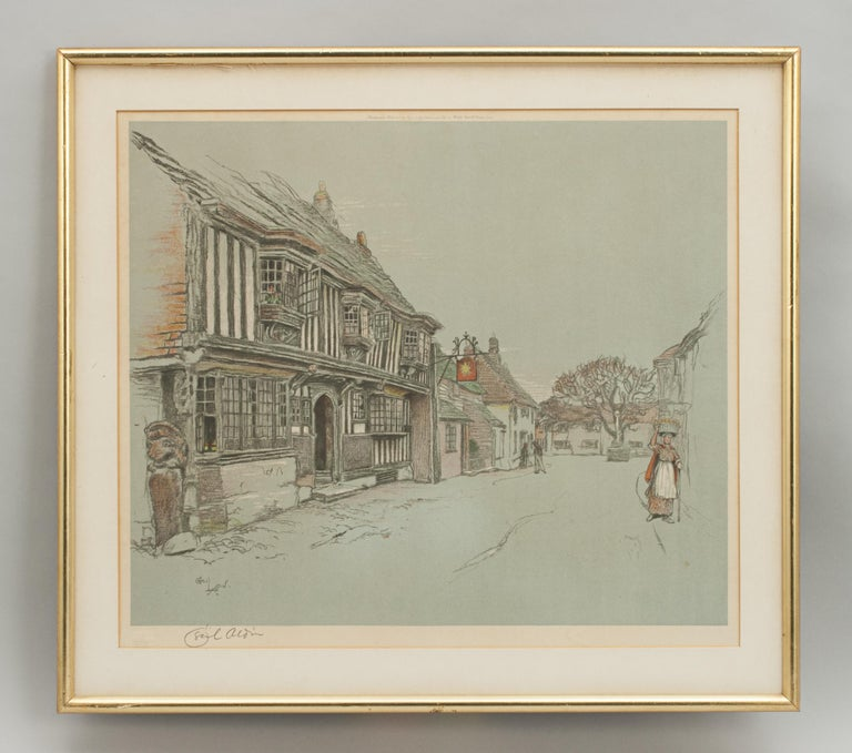 Cecil Aldin, Old Inns, The Star Inn. A very nice colourful framed chromolithograph by Cecil Aldin of The Star Inn, Alfriston, Sussex. The print is printed and published by Eyre & Spottiswoode, Ltd., 4 Middle New Street, London, E.C.4. and signed in