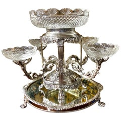 Old English Sheffield Silver Plate & Cut Crystal Geo. Style Epergne and Plateau