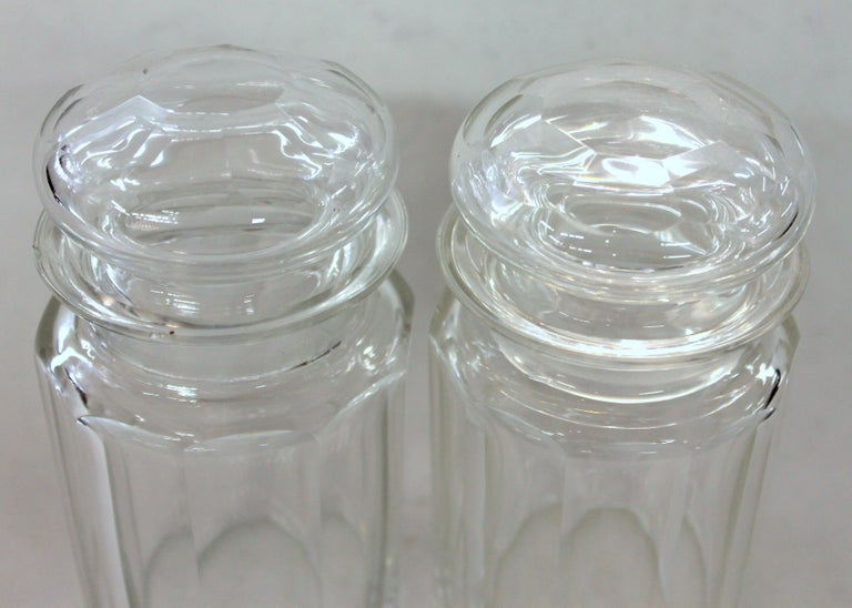 Fine quality hand-cut panel cut crystal double jar pickle set