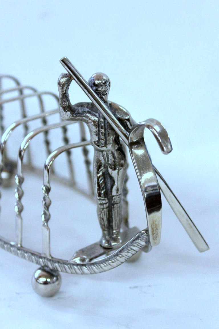 Old English Silver-Plate Gondola Shape Toast Rack with Gondolier For Sale 1
