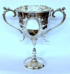 Old English Silver-plate Hand Chased Large Two-Handle Loving or Trophy Cup