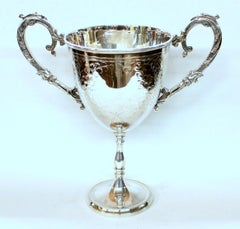 Old English Silver-plate Hand Engraved Two-Handle Loving or Trophy Cup