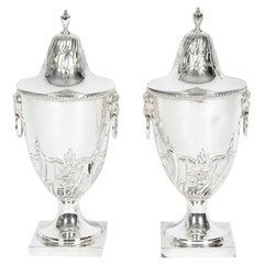 Old English Silver Plate Pair of Covered Urn