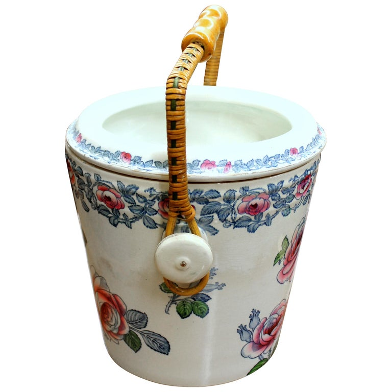 "Old English ""Whieldon-Ware"" Hand Painted Earthenware Hand Painted Slop Pail For Sale"