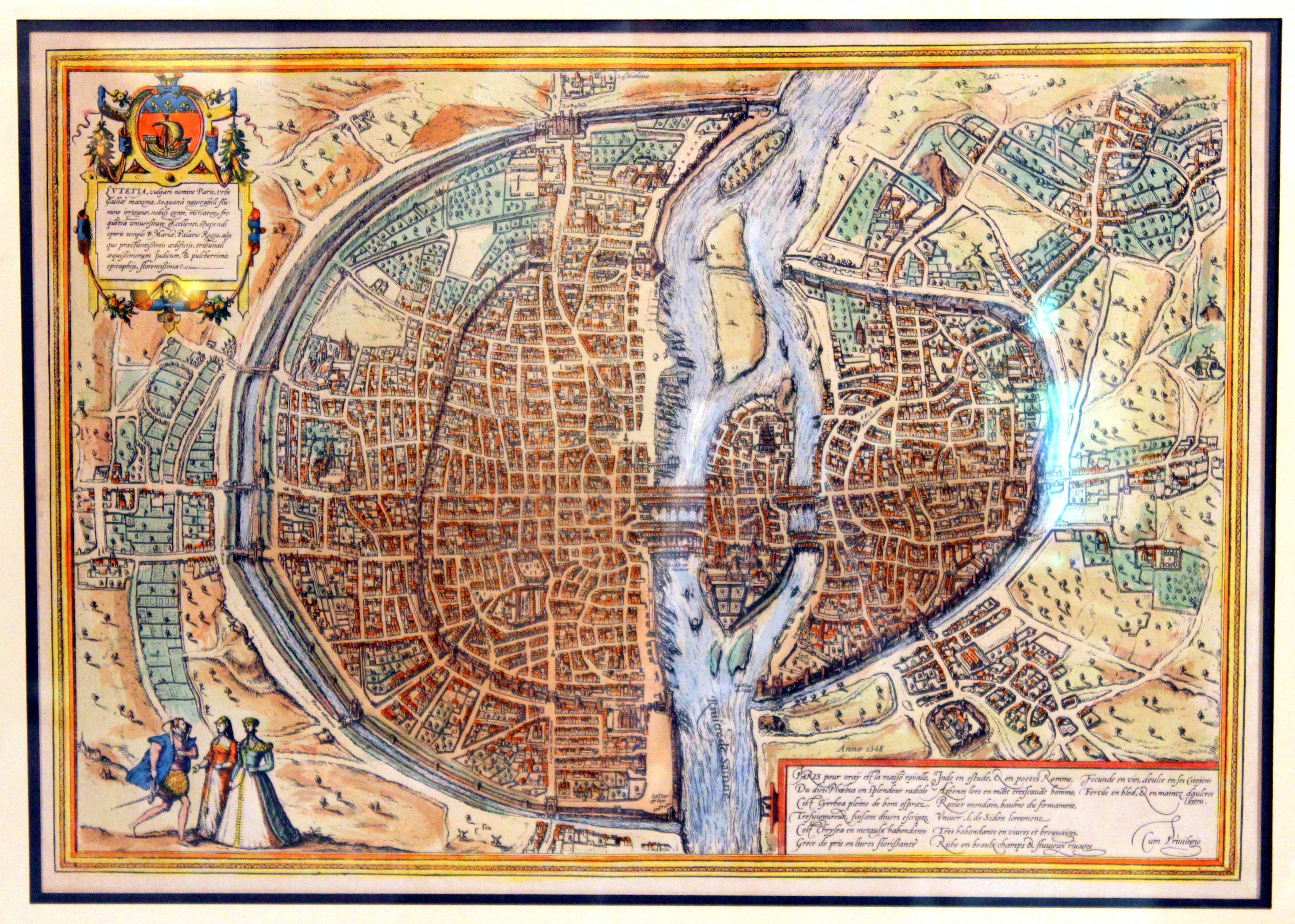 Old Engraving Map of Paris French Munster 16th Century Walled City on