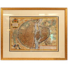Old Engraving Map of Paris French Munster 16th Century Walled City Framed