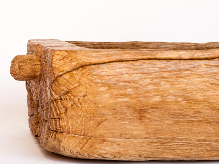 Hand-Crafted Old Eroded Teak Trough, Planter, North Thailand, Mid-20th Century For Sale