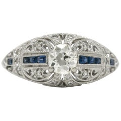 Old European Brilliant Diamond Blue Sapphire Engagement Ring Art Deco Inspired