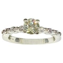 Old European Cut 0.70 Carat Round Diamond Ring 14 Karat White Gold