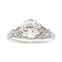 Old European Cut 1 Carat Diamond Platinum Engagement Ring