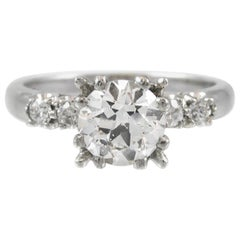 Old European Cut 1.10 Carat Diamond Platinum Engagement Ring