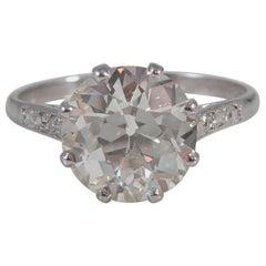 Old European Cut 2.36 Carat Solitaire Diamond Ring, circa 1950s, Platinum Band