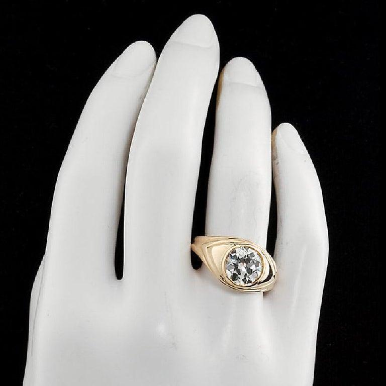 Women's or Men's Old European Cut 2.86 Carat Diamond Gold Bezel Set Gypsy Ring For Sale