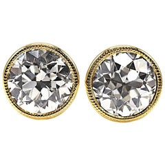 Old European Cut 3.12 Carat GIA Certified Diamond Gold Stud Earrings