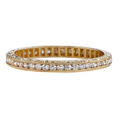 Old European Cut Diamond 18 Karat Gold Channel Set Band with Engraved Sidewalls