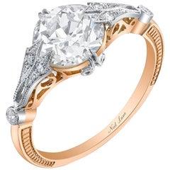 Neil Lane Couture Old European-Cut Diamond, 18K Rose Gold, Platinum Ring