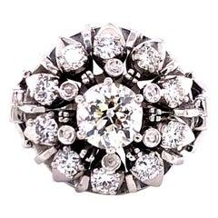 Old European Cut Diamond 18 Karat White Gold Ring