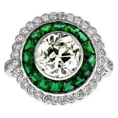 Old European Cut Diamond 2.1 Carat, with Emerald Cluster Ring