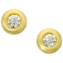 Old European Cut Diamond and 22 Carat Yellow Gold 'Doughnut' Earrings, Hancocks