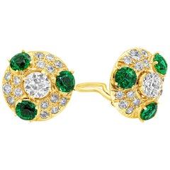 Old European Cut Diamond and Imitation Emerald Clip-On Earrings