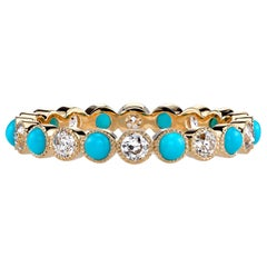 Old European Cut Diamond and Turquoise Eternity Band