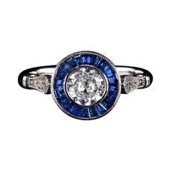 Old European Cut Diamond Blue Sapphire Ring 1 Ct