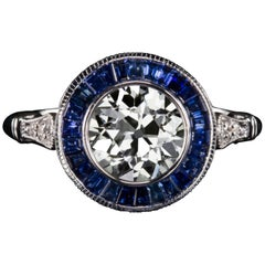 Old European Cut Diamond Blue Sapphire Ring
