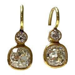 Old Mine Cut Diamond Dangle Earrings in 18 Karat Yellow Gold