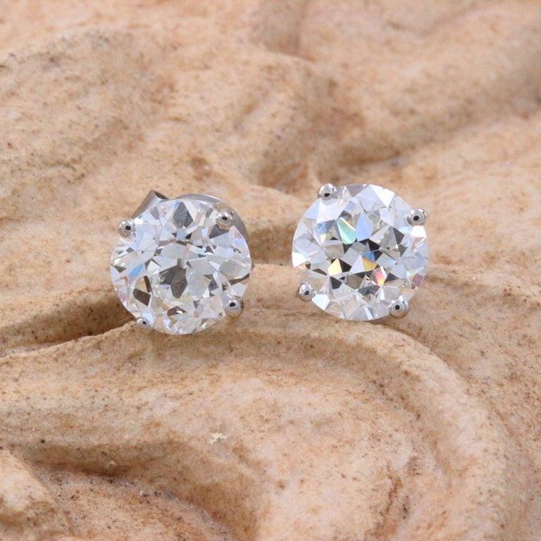 Women's Old European Cut Diamond Earrings 3.17 Carat Set in 14 Karat White Gold For Sale