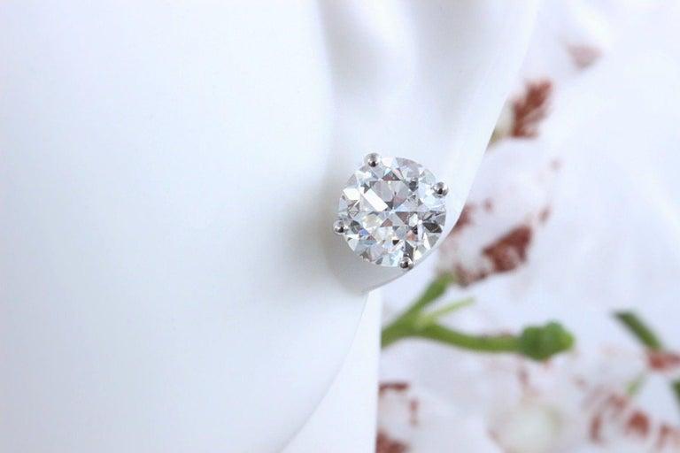 Old European Cut Diamond Earrings 3.17 Carat Set in 14 Karat White Gold For Sale 2