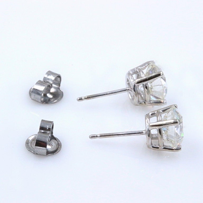 Old European Cut Diamond Earrings 3.17 Carat Set in 14 Karat White Gold For Sale 3
