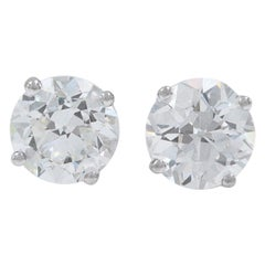 Old European Cut Diamond Earrings 3.17 Carat Set in 14 Karat White Gold