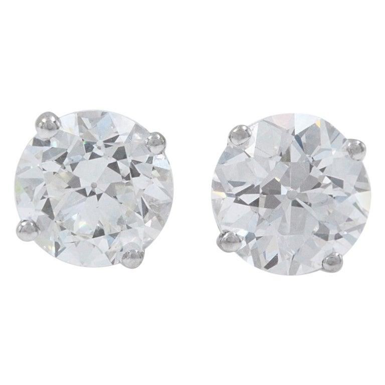 Old European Cut Diamond Earrings 3.17 Carat Set in 14 Karat White Gold For Sale