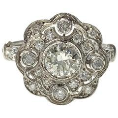 Old European Cut Diamond Engagement Ring in Platinum