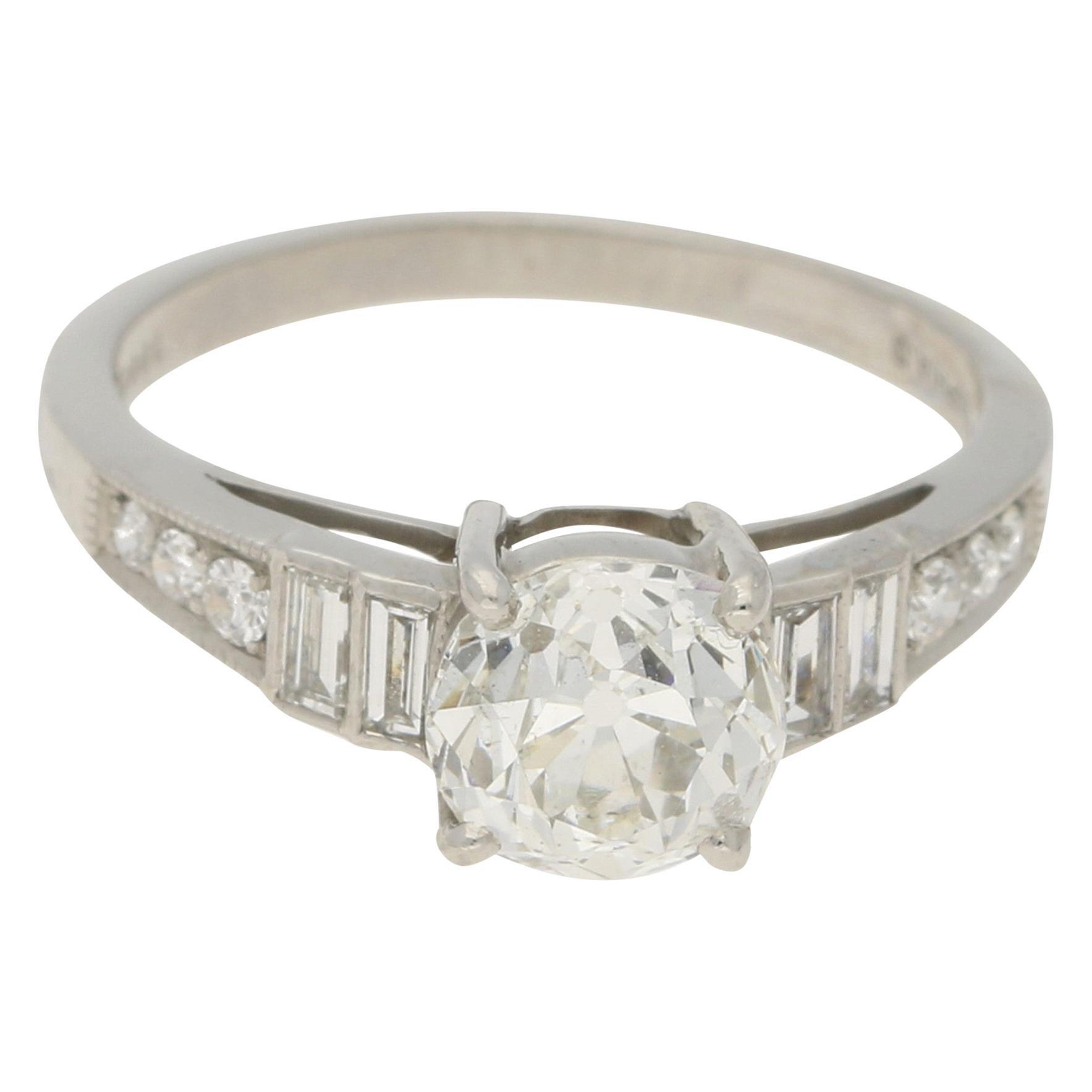 Old European Cut Diamond Engagement Ring Set in Platinum