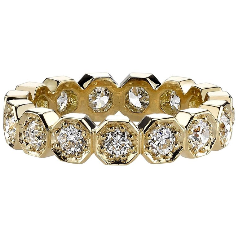 Approx. 1.40 Carat Old European Cut Diamonds Set in a Gold Eternity Band For Sale