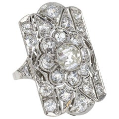 Old European Cut Diamond Floral Platinum Ring