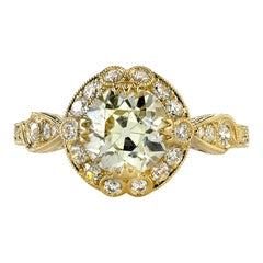 Old European Cut Diamond Gold Engagement Ring