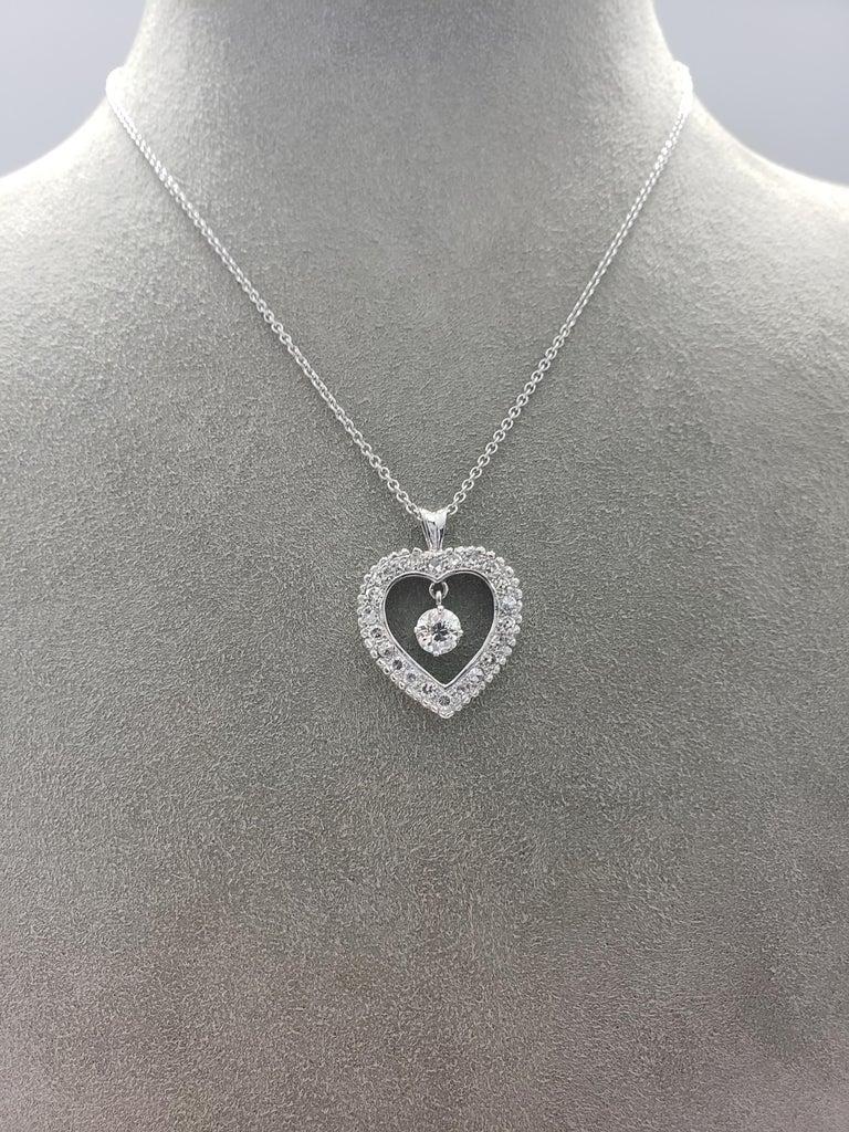 Old Mine Cut Roman Malakov Old European Cut Diamond Pendant Heart Necklace For Sale
